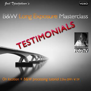 Long exposure and B&W masterclass video tutorial testimonials