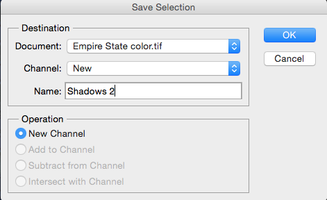 Saving the new shadows selection