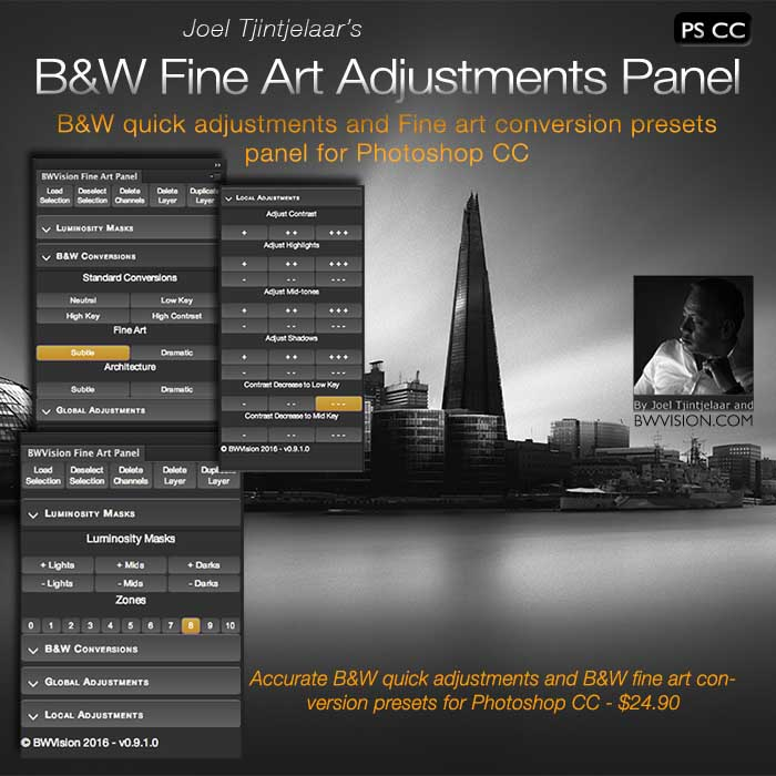 Black and white fine art quick adjustments panel for photoshop cc
