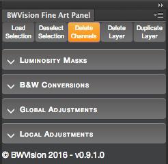 BWVision Fine Art Panel Menu