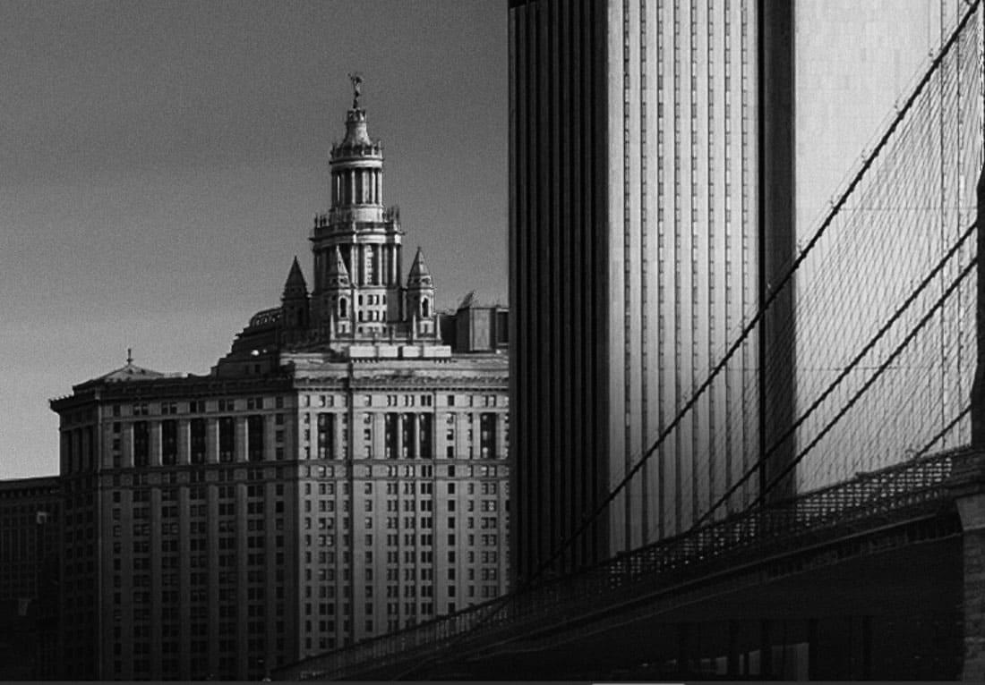 buildings behind the brooklyn bridge