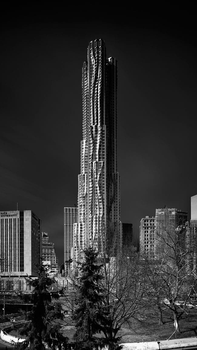 spruce street gehry building black and white photography