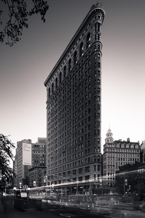 Flatiron Building, New York City, 2017, Black and White Long exposure photography