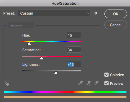 Hue Saturation Highlights Area