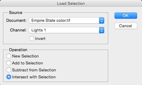 load the selection in photoshop