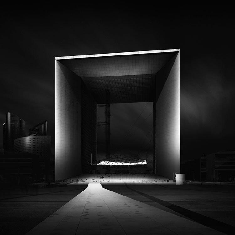 La Grande Arche Paris Black and white long exposure photography