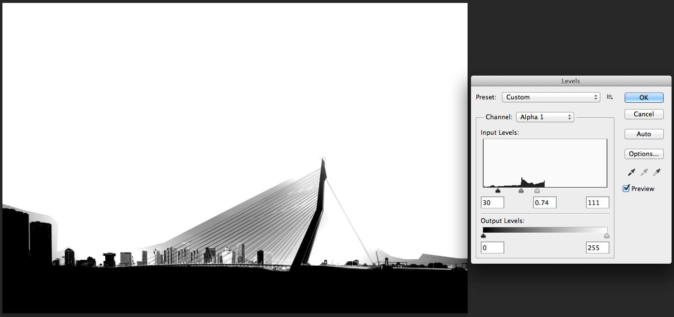 refining the selection with levels tool in photoshop