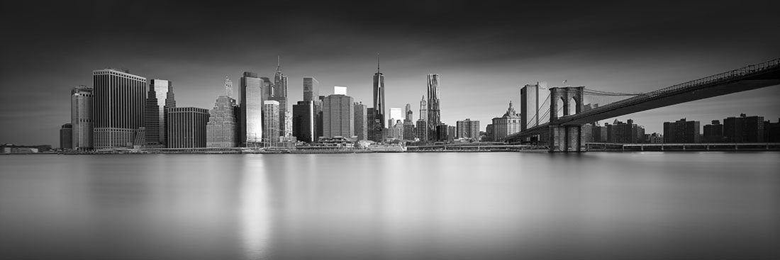 new york city skyline black and white early stages