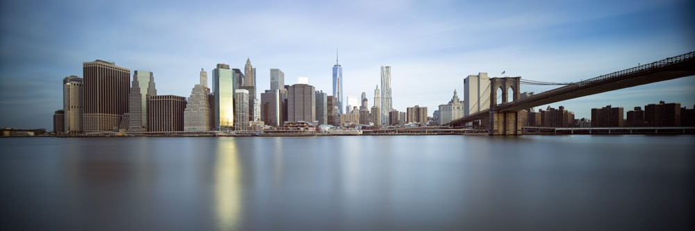 color image of the new york city sunrise long exposure