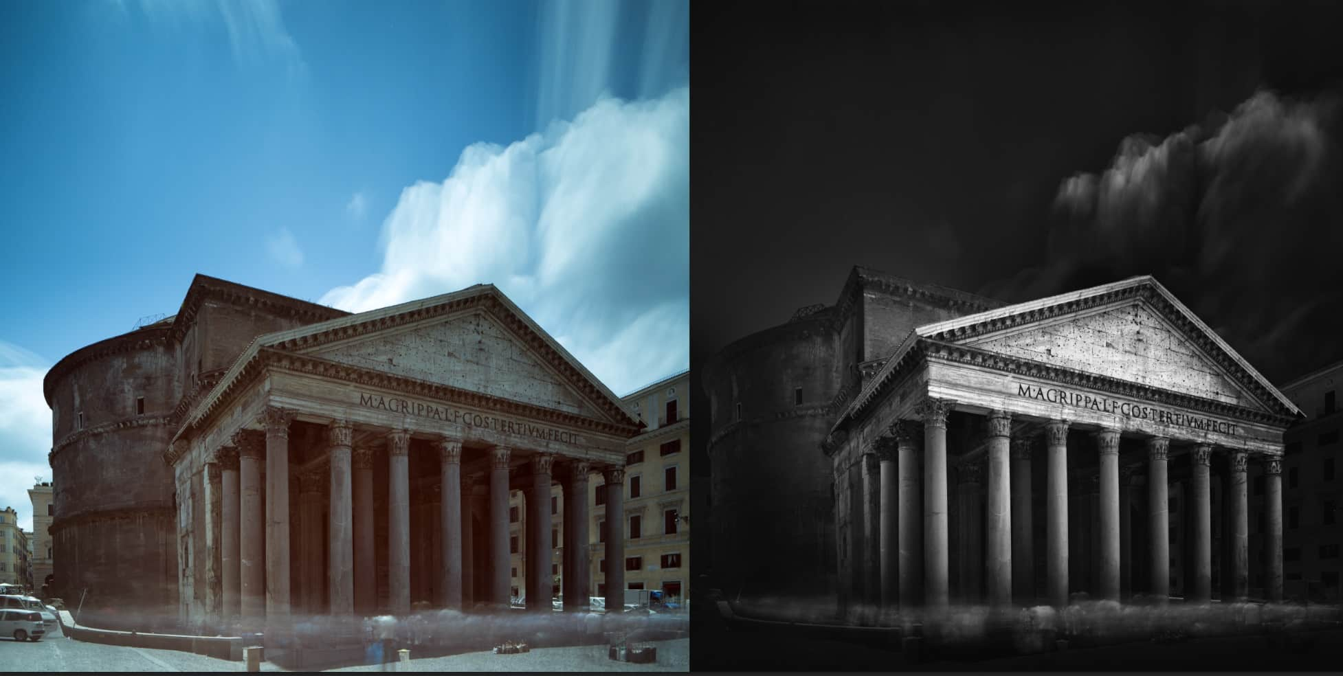 Pantheon Rome before and after using luminosity masks
