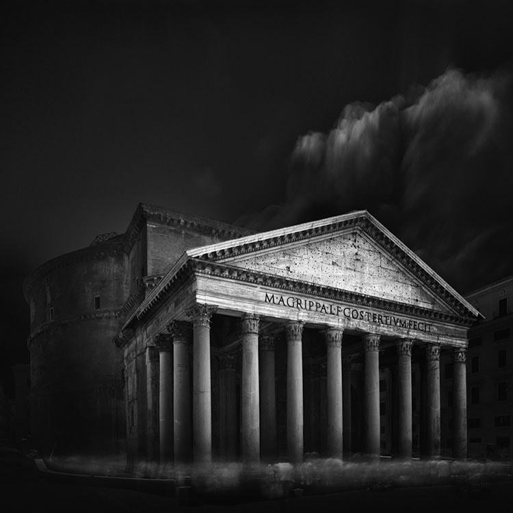 Pantheon Rome Black and White Long Exposure Photography