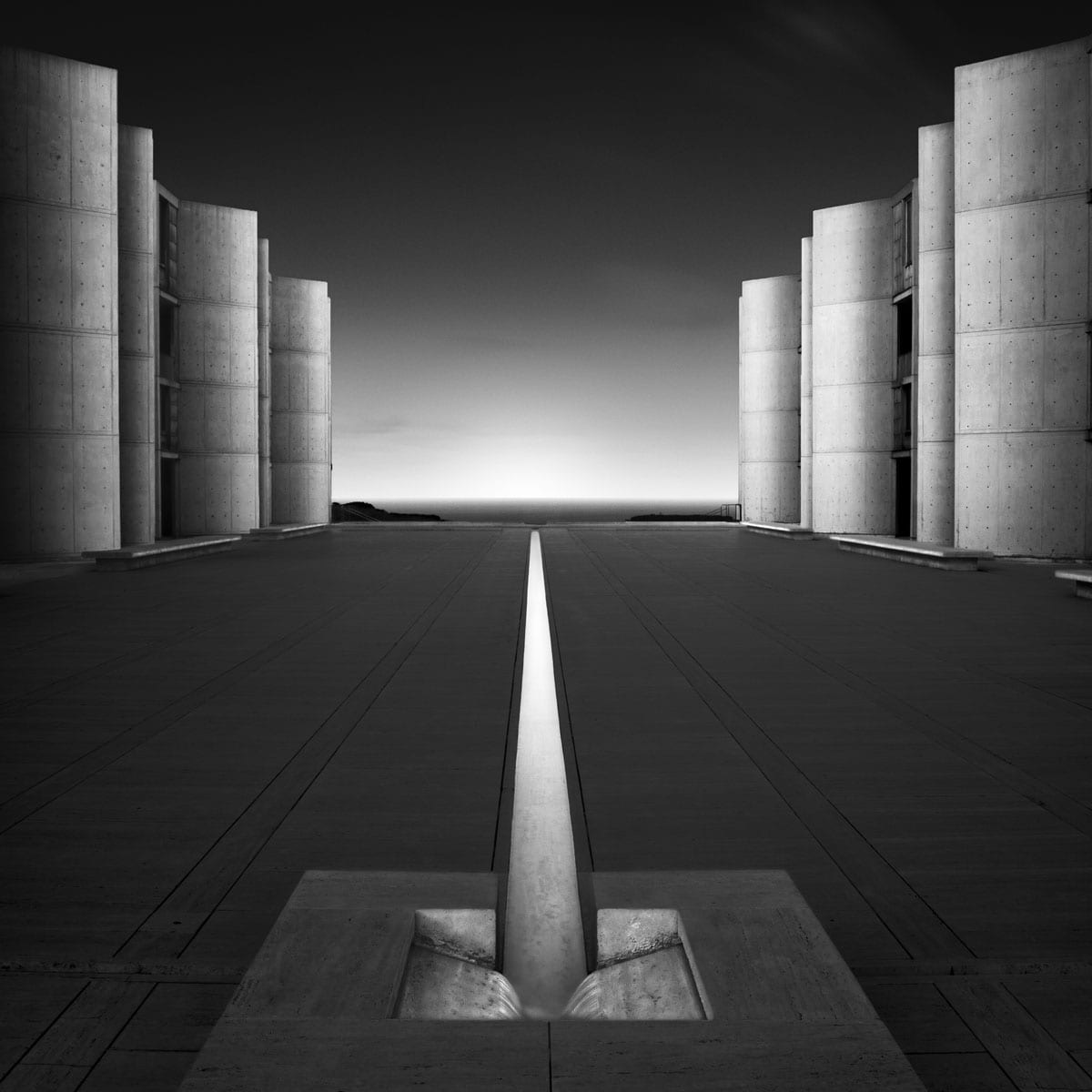 black and white long exposure of the salk institute