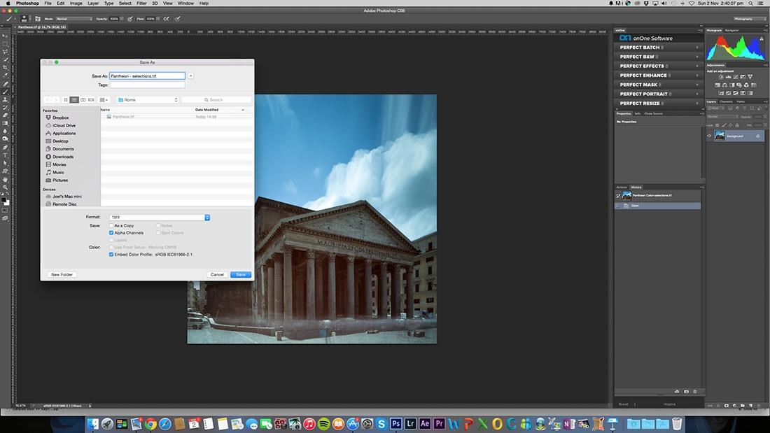 Duplicate the original file in photoshop