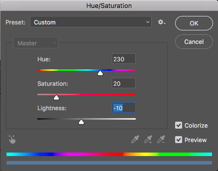 Hue Saturation Shadows Area