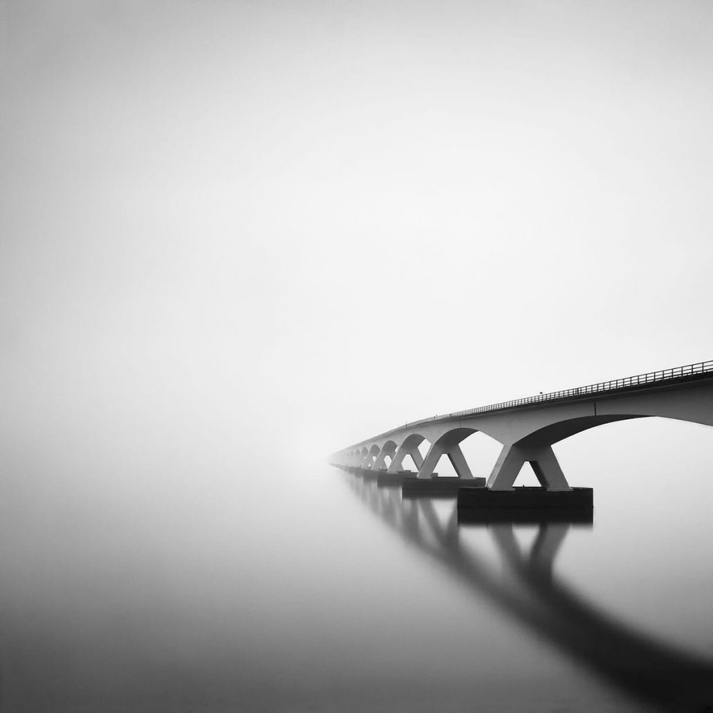 Black and white long exposure photography of the zeeland bridge