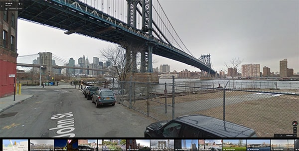 another view of the brooklyn bridge on google maps