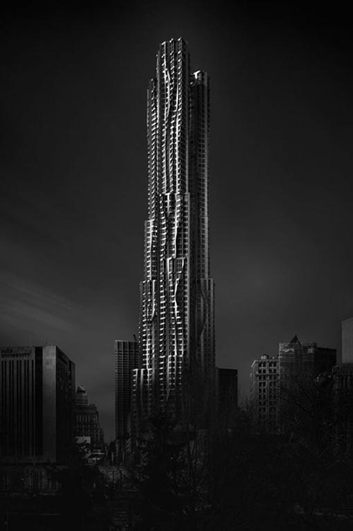 Gehry Building, New York, 2014 Black and White Long Exposure Photography