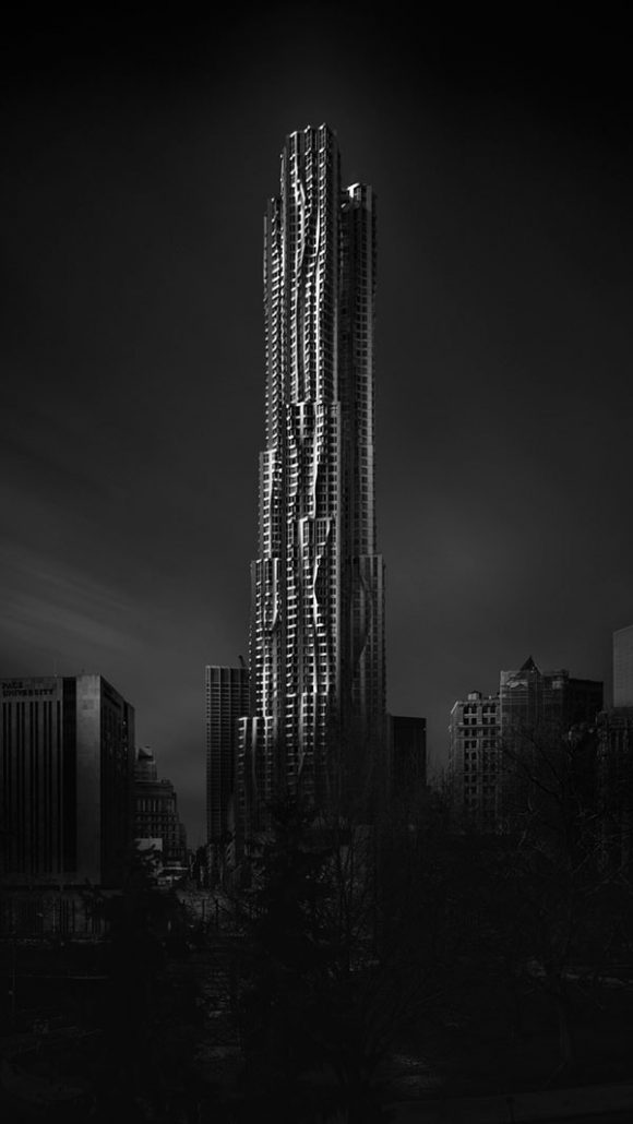 8 spruce street new york city black and white long exposure