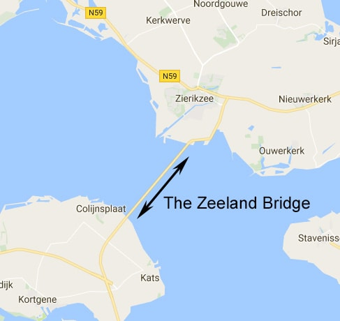 Location of the Zeeland Bridge