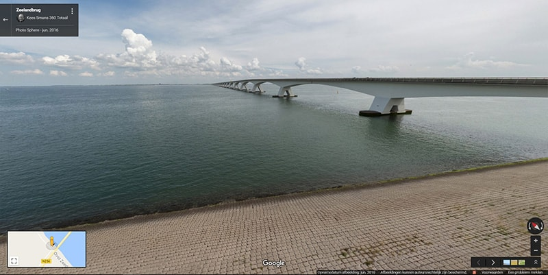 View of the zeeland bridge on google maps