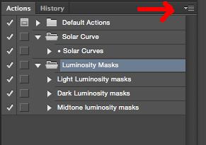 actions menu photoshop