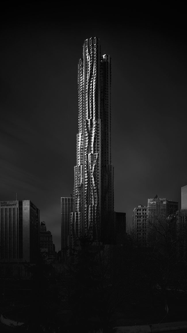 gehry building black and white long exposure photograph