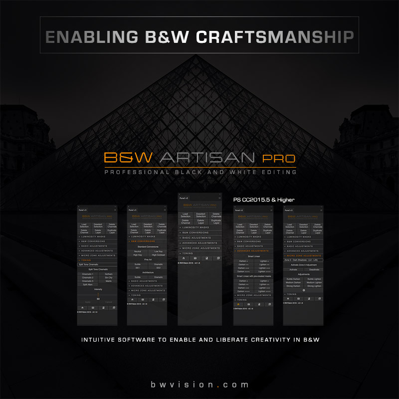 Bw artisan pro panel for photoshop professional black and white editing software